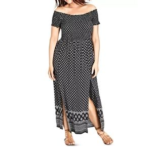 City Chic PlushSmocked Off-the-Shoulder Maxi Dress